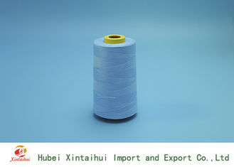 China Blue Color Dyed Ring Spun Polyester Yarn , Polyester Sewing Yarn High Tension supplier
